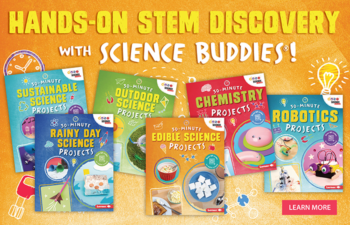 The cover images for a new series of science project books from Science Buddies