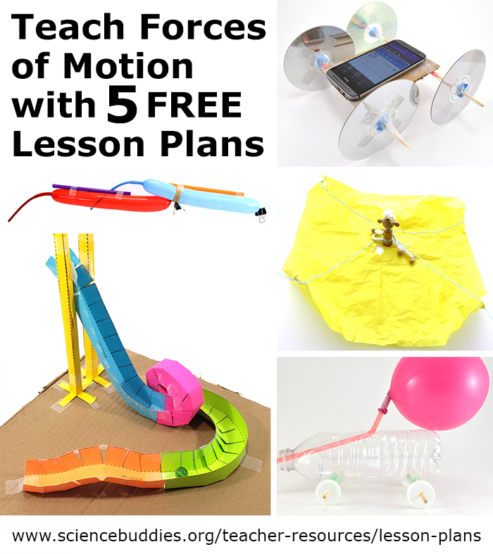 Photo collage of four motion themed science projects