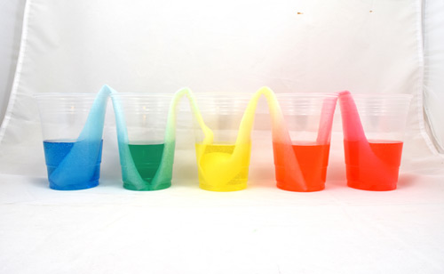 Five plastic cups with blue, green, yellow, orange, and red water in them from left to right, with folded paper towels connecting each of the cups.