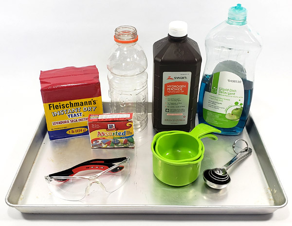 Materials needed for elephant toothpaste experiment