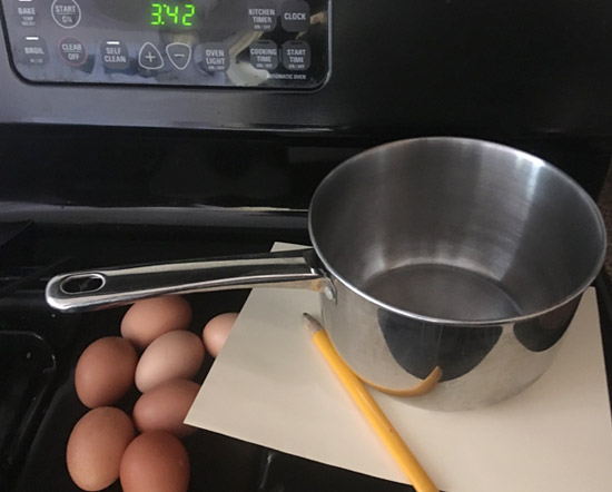 Materials needed for a STEM activity where you explore how to tell the difference between a cooked and a raw egg.