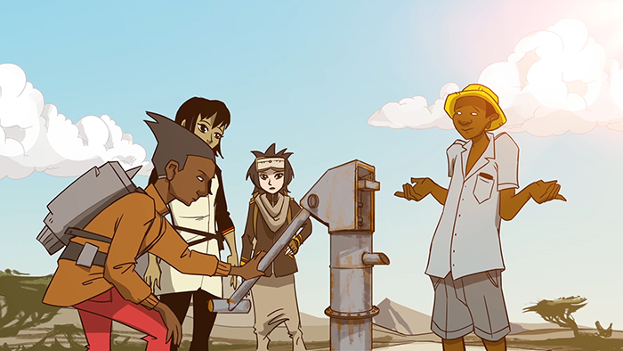 Four animated characters gathered around a water pump from the webseries Global Problem Solvers: The Series made by Cisco