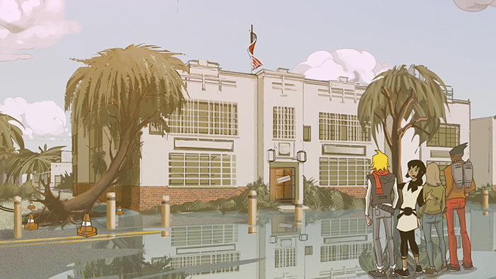 Four animated characters in front of a flooded building from the webseries Global Problem Solvers: The Series made by Cisco