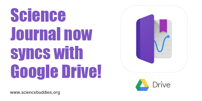 Logos for Google Drive and the Google Science Journal app