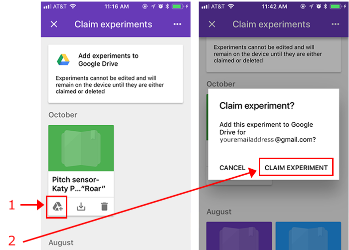 Two screenshots of an experiment from the Google Science Journal app being added to Google Drive
