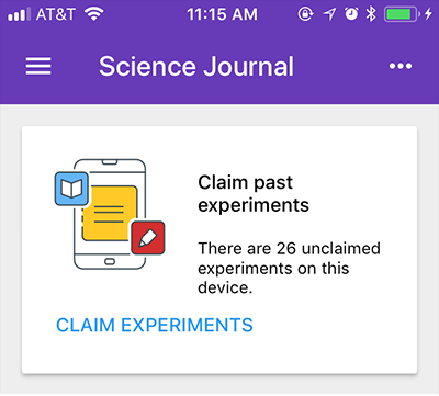 Screenshot of a unclaimed experiments notification in the Google Science Journal app
