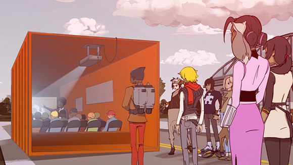 Drawing of students in a shipping container that has been converted to a mobile classroom