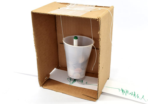 Seismograph made from a cardboard box, plastic cup, and string.