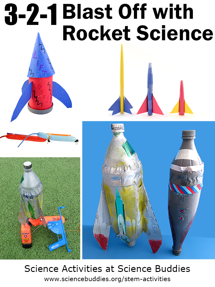 Photo collage of four rocket themed science projects
