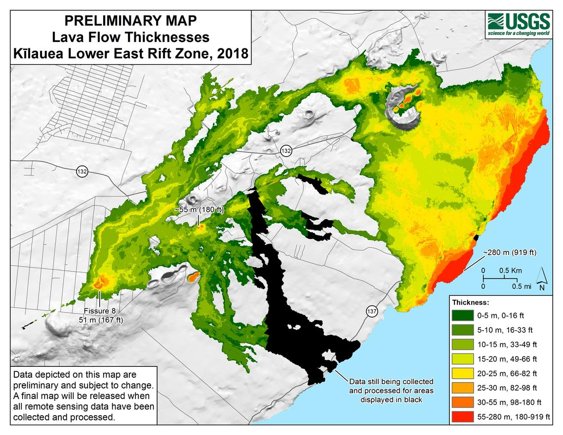 Lava flow map built by GIS technician