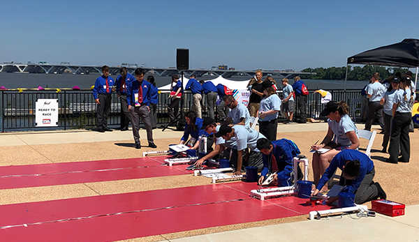 Team Uger competing in a Junior Solar Sprint timed trial at the JSS National Competition, 2019