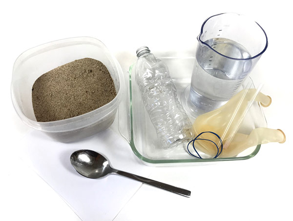 materials needed for wet sand on beach activity