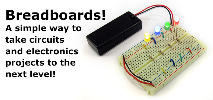 LEDs and a battery pack inserted into a breadboard