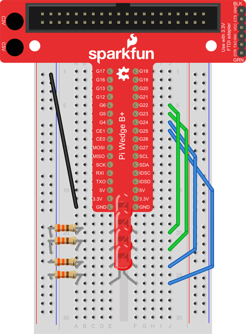 piano breadboard 4 red LEDs