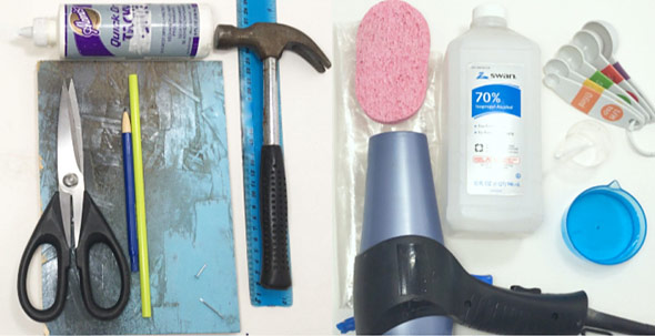 Glue, scissors, pencil, straw, hammer, ruler, hair dryer, sponge, zip top bag, rubbing alcohol, measuring spoons and cups
