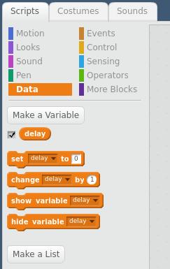 Data menu in Scratch screen shot