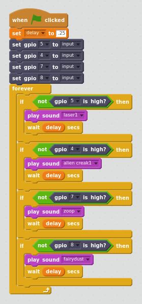 Drumset program in Scratch