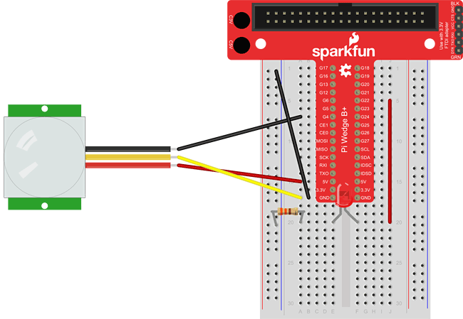 raspberry pi PIR breadboard LED