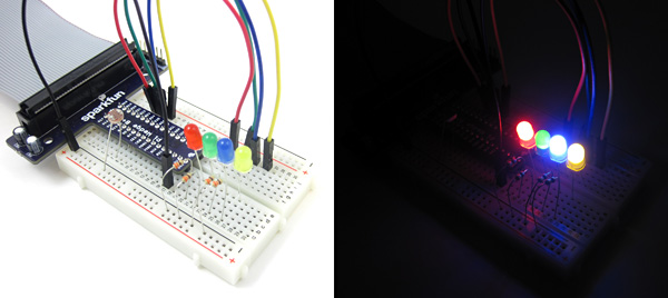 raspberry pi  starry night LEDs breadboard