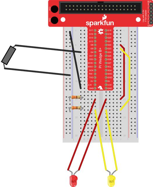 raspberry pi puppet breadboard 2nd LED