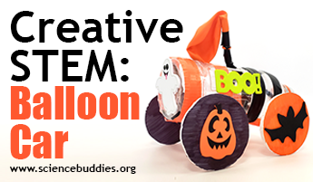 Balloon car activity decorated for Halloween STEM