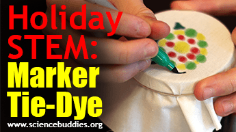 Make and Give STEM: Example of marker tie-dye activity used to make ornaments