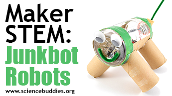 Makerspace STEM: junkbots example from recycled materials