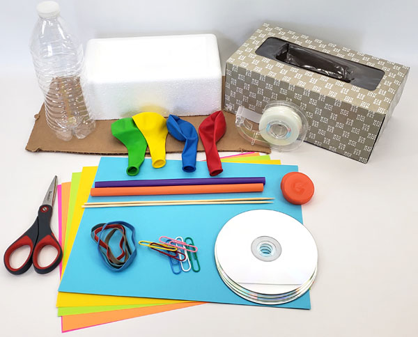 Materials that students can use to build a car in this STEM lesson plan.