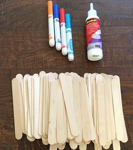Materials for the Popsicle stick chain reaction STEM activity