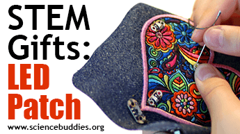 Make and Give STEM: Example of light-up LED patch from wearable electronics project