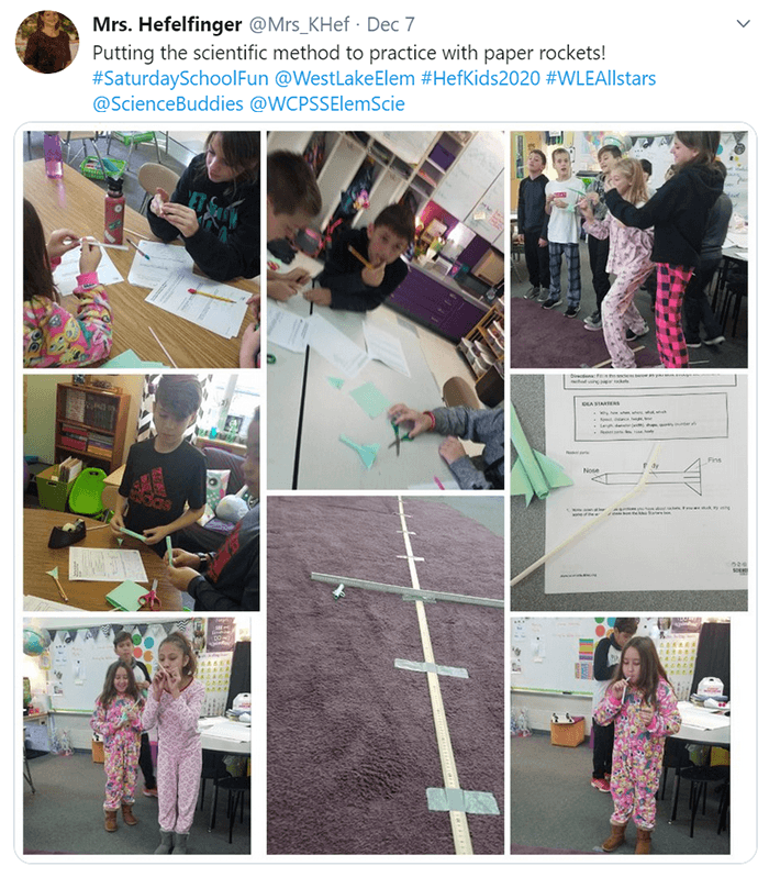 Students doing paper rockets STEM activity