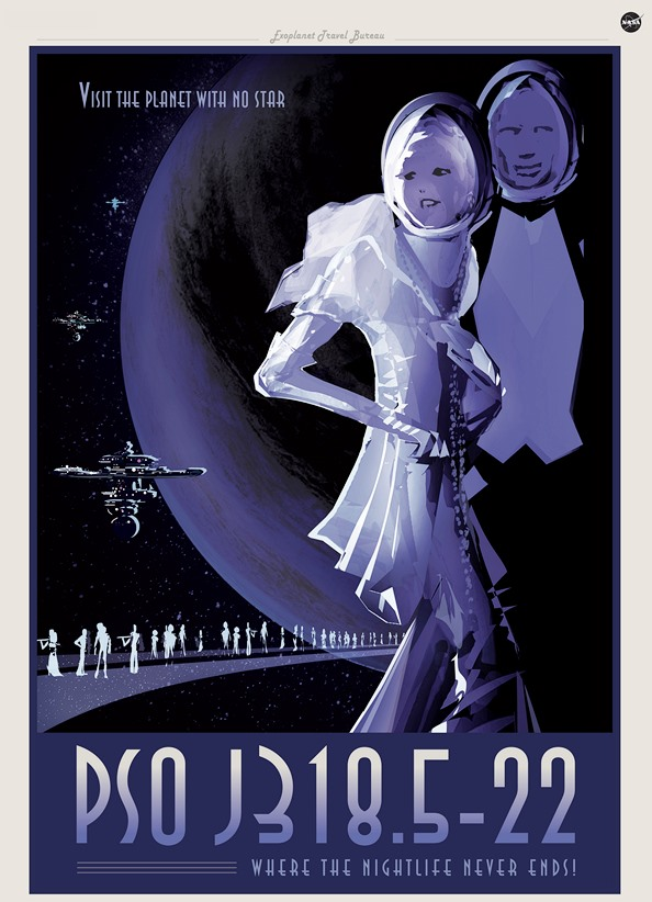 Poster showing fictional party goers on exoplanet.
