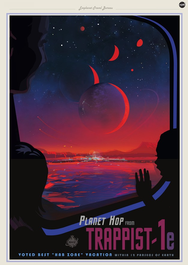 Poster showing fictional tourists on an exoplanet looking out of a vehicle window at a city.