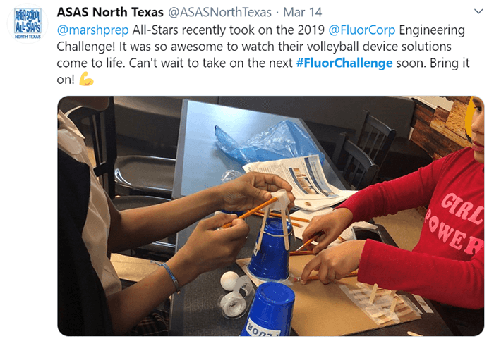 Students from ASA North Texas working on Fluor Challenge devices