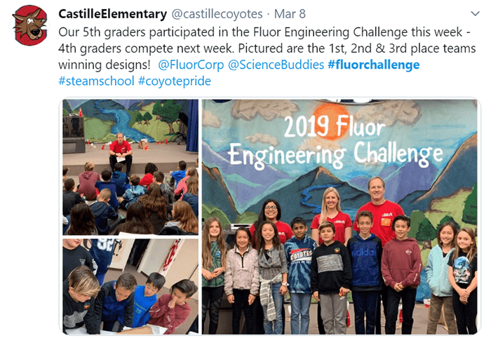 4th and 5th grade students at Castille Elementary took part in the Fluor Challenge