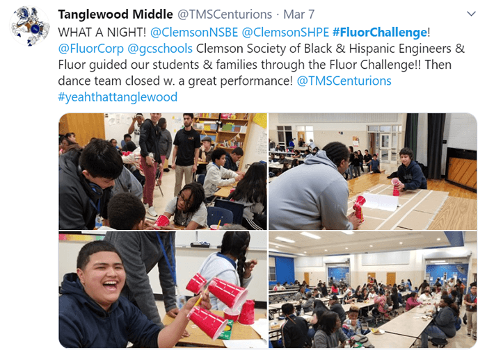 Students at Tanglewood Middle School working on Fluor Challenge