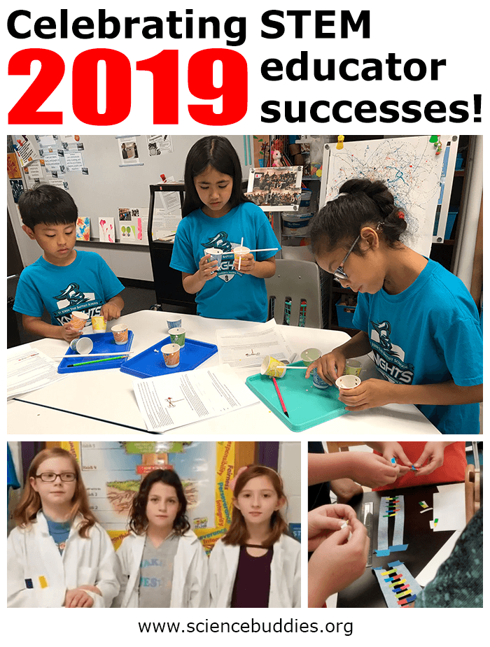 Celebrating student and educator STEM successes from 2019 - example of students doing anemometer activity