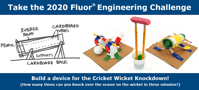 Three examples of devices that could be built for the 2020 Fluor Engineering challenge including a sketch and photo of a ping pong launcher, and a photo of a catapult.