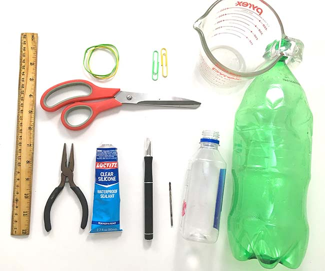 A display of most materials needed for the 'Do Submarines Need Fins?' science project.