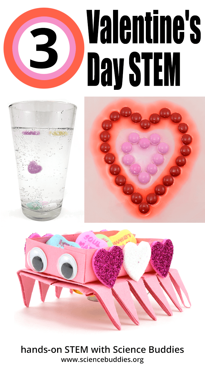 Three STEM projects for Valentine's Day, including candy hearts that dance in carbonated water, a robot decorated with craft materials to deliver candy, and colorful candy diffusion chemistry in a bowl.