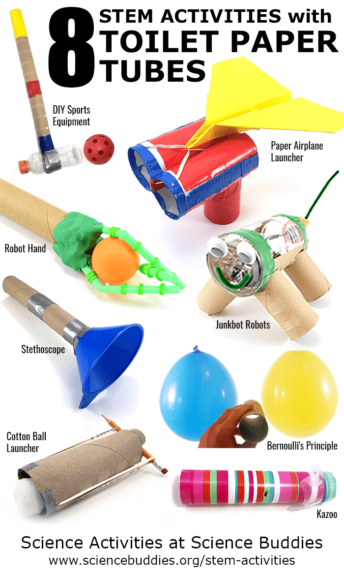 Photo collage of eight STEM activities that use cardboard tubes like toilet paper or power towel rolls