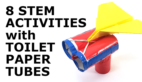 Paper airplane launcher example made from toilet paper tubes and a rubber band, one of 8 suggested activities to do with recycled cardboard tubes