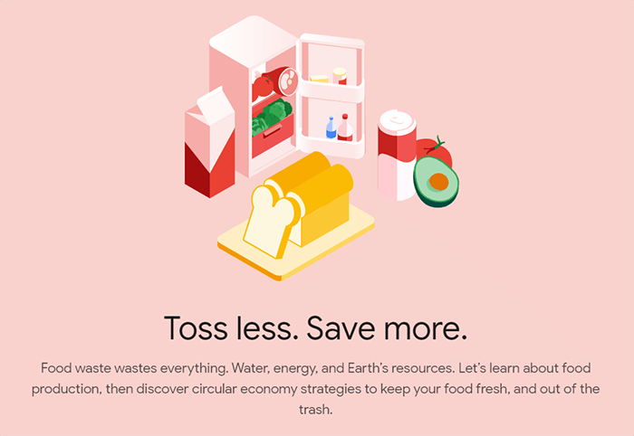 Screenshot of the Food section of Your Plan Your Planet, an interactive tool about sustainability