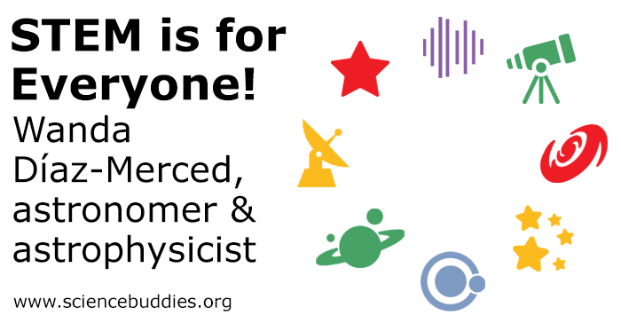 Icons related to astronomy and space science to represent Wanda Díaz-Merced's career in astronomy