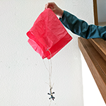 Simple parachute with a toy animal attached