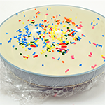 Sprinkles on a stretched piece of plastic wrap being vibrated by sound