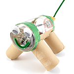 Sample junkbot introductory robot made from recycled materials and Bristlebot Robotics kit