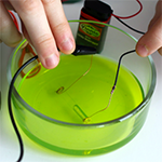 Circuit of electrolyte challenge project in a dish with a green sports drink to measure electrolytes
