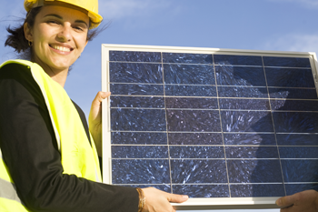 solar energy systems engineer with solar panel