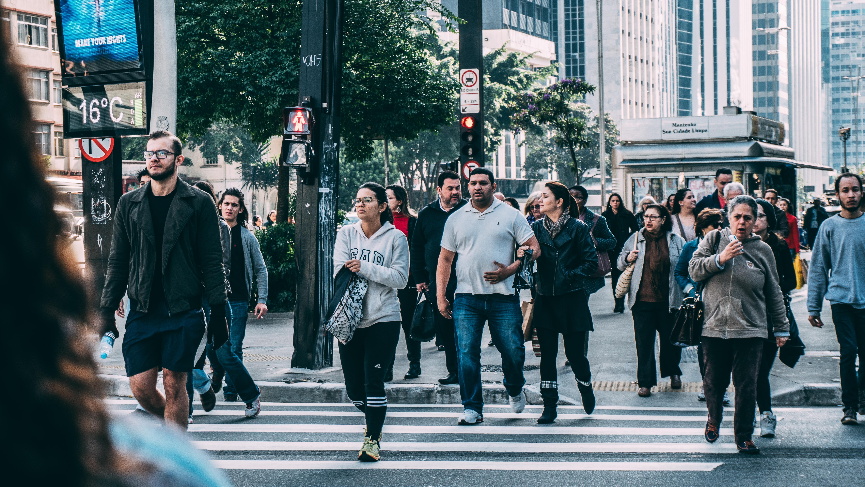 pedestrian crowd on crosswalk